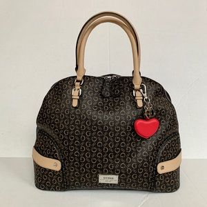 Guess Logo Tote Bag with Heart Keychain